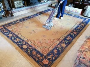 Rug cleaning in action